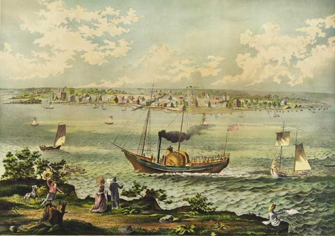 Painting of Walk in the Water Steamboat at Detroit, 1820